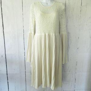 Floreat Serena Sweater Dress Bell Sleeve Crochet